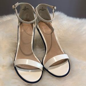 White Strappy Sandal Heels with Blue Stripe